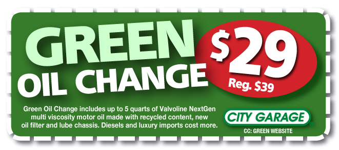 Green Oil Change Coupon